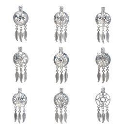 6pcs / lot Argent 20 styles Dreamcatcher Perle Cage Fabrication de Bijoux Perle Cage Pendentif Huile Essentielle Diffuseur Médaillon Pour Oyster Pearl ? partir de fabricateur