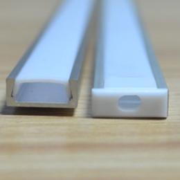 led-streifen aluminium Rabatt 3-10pcs / lot, 0.5m / pc, LED-Aluminium-Profil für 5050 5630 LED-Streifen, milchig / transparente Abdeckung für 12mm Platine, Band Licht Gehäuse