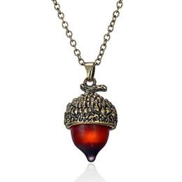 Eichelschmuck online-Acorn Anhänger Retro Pflanze Obst Legierung Anhänger mit 24 Zoll Kette Frauen Halsketten Modeschmuck Geschenk