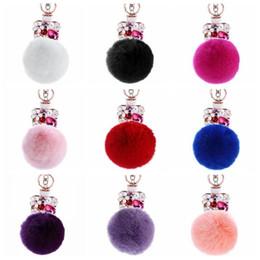 Wholesale Wholesale Perfumes Handbags - 9 Colors 13cm Women Rabbit Fur Ball Keychain Rhinestone Perfume Bottle Handbag Accessories Key Chain Pompom Bag Accessory CCA9035 50pcs