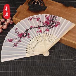 Wholesale metal hand fans - 6 Inch Plum Blossom Silk Fan Wedding Souvenir Hand Folding Fans Classic Home Decor Arts High Grade 2 2sz Ww