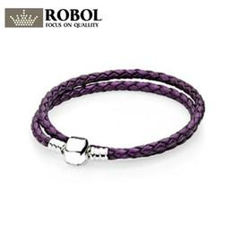 2019 фиолетовый плетеный кожаный браслет ROBOL стерлингового серебра 925 многоцветный смешанный фиолетовый плетеный женщин двойной кожаный браслет Шарма подходят DIY оригинальный шарик кулон дешево фиолетовый плетеный кожаный браслет