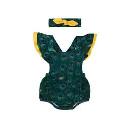 Argentina Nuevo diseño del bebé de la muchacha Set Newborn Cotton Peacock Pattern Romper del verano sin mangas Bodysuits con la ropa del bebé de la venda supplier newborn headband designs Suministro