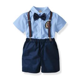 2b34bbab8 Los muchachos del verano bordaron solapa camisas de manga corta + lazo de  los lazos + pantalones cortos elásticos casuales + rayas liga 4pcs  establece los ...