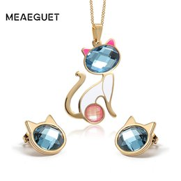 Wholesale Cat Crystal Stud Earrings Gold - whole saleMeaeguet Stainless Steel Blue Crystal Cat Jewelry Sets For Women Gold-color Cute Necklace + Stud Earring Jewelry Set