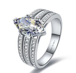 Oem oro solido online-Anello di fidanzamento in oro bianco massiccio 3CT con diamanti e diamanti Anello di fidanzamento in oro bianco con diamanti 3CT e diamanti