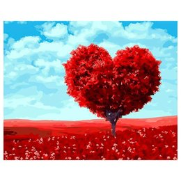art canvas red tree painting Promo Codes - 2018 New Frameless Red Heart Trees DIY Painting By Numbers Wall Art Picture Unique Gift For Wedding Decoration 40*50cm Artwork