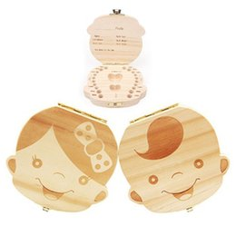 Wholesale Personalized Wood Gift - 1pcs Spanish English Russian wood baby kids tooth box organizer storage box baby milk Teeth Collect gift Save Cord Lanugo Case