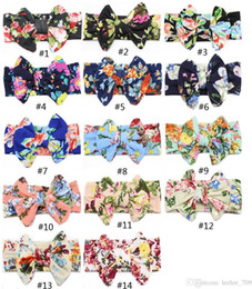 baby floral belts Promo Codes - 14 color Big bow belt Children printing Kids Baby Flower Headbands 2017 new Bohemian Hair Accessories Head Wrap Girls Childrens Best Price