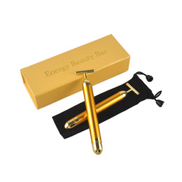 Wholesale Beauty Massager Gold - Energy Beauty Bar 24K Gold Pulse Firming Massager Facial Roller Massager Derma Skincare Wrinkle Treatment Face Massager with Box 0609005