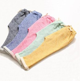 Wholesale Harem Trousers For Kids - kids children harem pants for boys trousers kids child casual pants candy solid colors Harem pants causal sports trousers KKA4044