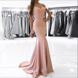 Blush prom nude sereia vestido on-line-Elegante Simples Off-a-ombro Formal Vestidos 2018 Baratos Sereia Até O Chão Zipper Voltar Prom Dress Blush Rosa