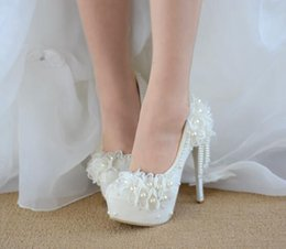 Wholesale Sweet Princess Bride Wedding Dress - Hot! Women High heels princess Lace White sweet Flowers Rhinestone tassel bride Wedding shoes Women High Heels