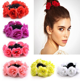 Legame dei capelli del fiore del tessuto online-Big Rose Flower Elastics Hair Holders Rubber Bands Girls Women Cute Tie Gum Fabric Hot Wreaths Crowns Wedding Hair Accessories