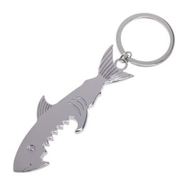 Chaveiro único do abridor de garrafas on-line-Shark Shaped Bottle Opener Keychain em forma de liga de zinco Silver Color Key Ring Abridor de garrafas de cerveja Original Creative Gift