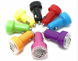 Wholesale Nipple Adapter - Dual mini nipple Bullet 2 Port 5V 2A USB Car Charger Universal Adapter for iphone 5 5s 6s ipad samsung s5 Free DHL