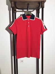 Wholesale Jersey Letters - 2018 summer Brand New men's polo shirt men short sleeve Mercerized Cotton shirt jerseys red color letter polo shirts