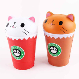 Wholesale universal coffee - Cat Squishy Toys Coffee Cup Squishies Cute Animal Slow Rising Vent Children Toy Gifts New 14cm Jumbo 2018