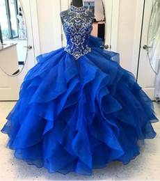 Wholesale Short Gold Glitter Dress - Glittering Royal Blue Ball Gown Quinceanera Prom Dresses 2018 Cheap High Neck Ruffles Organza Rhinestones Crystal Illusion Evening Formal