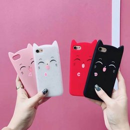 Wholesale Cat Cell Case - 3D Smile Cat Ear Cartoon Soft Silicone Case For IPhone X 8 7 Plus 6 6S 6+ SE 5 5S Rubber Cute Lovely Gel Cell Phone Back Skin Cover 2018 New