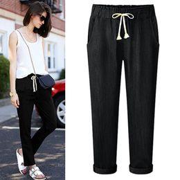 ef3ca876b94 New Hot Women Solid Drawstring Elastic Waist Jeans Harem Pants Ladies  Casual High Waist Loose Denim Trousers Plus Size Long Pe