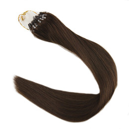 Wholesale Hair Extensions Beads - Color #4 Chocolate Brown 1g per Strand 50g 100g Per Package Silky Straight Micro Loop Ring Hair Remy Bead Human Hair Extensions