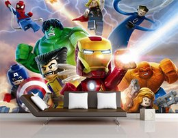 Wholesale Printed Backdrops - 3D Lego Avengers wallpaper for walls Mural Cartoon wallpaper Kids Bedroom Room Decor TV backdrop wall covering Photo wallpaper