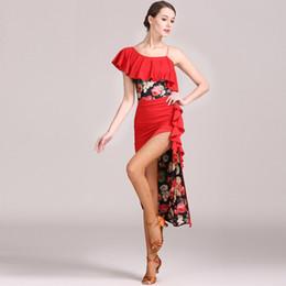 Vestito latino da ballo giallo online-vestito da ballo latino donna rosso per ballare donne vestito latino tango giallo salsa latino tango dancewear top skrit
