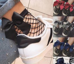 Wholesale fishnet ankle socks - Fishnet Ankle High Socks Bow Tie Socks Fashion Girl Ruffle Fishnet Ankle High Mesh Lace Fish Net Short