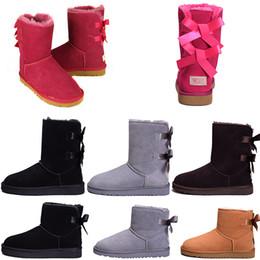 стальная заслонка Скидка ugg Женская UGS Bailey Bow Высокая зима Снежные сапоги для мужской кожи Bailey Bowknot женские ботинки с ботинками для снега сапоги WGG boot CHEAP ZAPATOS