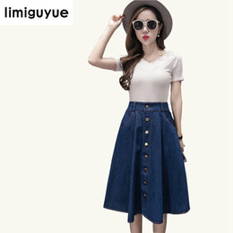 limiguyue 2018 korea style women slim cowboy skirt high waist button chic  casual brand cute ladies party skirts plus size G069 d33d07aee