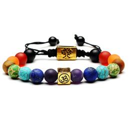 Yoga baum leben armbänder online-Yoga Handmade 7 Chakra Baum Des Lebens Charme Armbänder Lava Stones Multicolor Perlen Seil Armband Frauen Männer Armbänder Armreifen