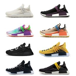 Wholesale mens golf shoes size 11 - New Human Race Running Shoes pharrell williams Hu trail Cream nerd Equality holi nobel ink trainers Mens Women Sports sneakers size 5-11