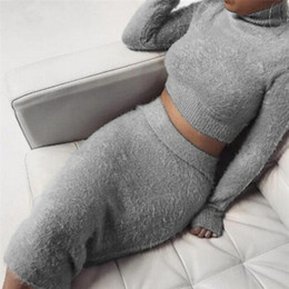 midi camisola vestidos Desconto Set (2 pcs) Outono Mulheres Bandage Terno de Manga Longa Top de Lã Colheita Midi Saia Sólida Bodycon Vestido Camisola Treino feminino