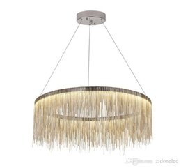 Wholesale Luxury Chandeliers For Dining Rooms - Modern fringed aluminum chain chandelier lights Nordic style Luxury Chandeliers Silver Rose Gold hanging lighting for living dining room