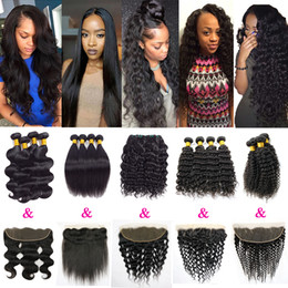 Wholesale Cambodian Kinky Curly Hair - Peruvian Hair 4 Bundles with Lace Closure Deep Wave Body Wave Hair Weaves Water Wave Straight Kinky Curly Human Hair Bundle Lace Closure