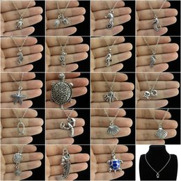 Wholesale Wholesale Turtle Shells - whole saleGLOWCAT Q1A78 Vintage Silver Alloy Charms Ocean Sea Starfish Horse Lobster Shell Turtle Pendant Choker Necklace Boys 18inch