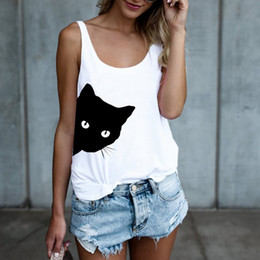ba5e3120ad21bc Fashion Cat Printed Tank Top Women Cartoon Sleeveless Summer Vest Casual  Ladies White Black Gray Tee Shirt O-Neck Slim Tops
