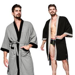 b63f031639 wholesale Cotton Men Robe Male Sleepwear Kimono Casual Robes Men Bathrobe  High Quality Home Wear Spring Autumn Handsome Robes
