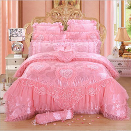 Wholesale Lace Quilt Cover - 4 6 8 pcs red pink lace princess bedding set luxury girls wedding bed set quilt cover bed sheets queen King size 2018 New Design