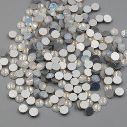 Chiodo a caldo art online-New SS3-SS30 White Opal Color 1440PCS 3D Nail Art Flat Posteriore Non Hot Fix Strass Non Hotfix Cristalli di vetro Pietra