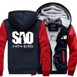 Wholesale Online Pullovers - Anime Sword Art Online S.A.O sweatshirt men 2017 spring winter warm fleece hoodie fashion men tracksuit high quality coat jacket