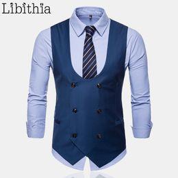 2019 мужские сплошные серые костюмы  Mens Casual Solid Color Suit Vest All-season Plus Size M-4XL Male Sleeveless Waistcoat Men Grey Black Blue Khaki T182 дешево мужские сплошные серые костюмы