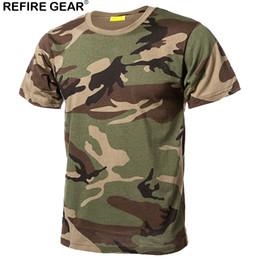 2019 equipo de camuflaje táctico Refire Gear al aire libre de secado rápido Camisetas Hombres Camuflaje de algodón Paintball Caza Camisas Táctico Camo Camiseta transpirable equipo de camuflaje táctico baratos