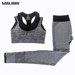 Wholesale Gym Suits For Women - MAIJION 2Pcs Women Yoga Sets Fitness Sport Bra+Yoga Pants Leggings Set , Gym Running Sport Suit Set Workout Clothes for Female