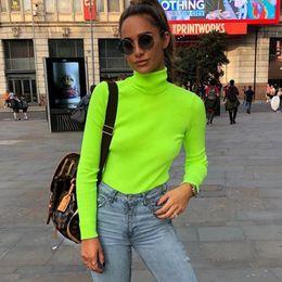Rippstrick-t-shirt online-ZHYMIHRET 2018 Herbst Winter Neon Farbe Gerippt T-shirt Frauen Langarm Rollkragen T-shirt Mode Gestrickte Tops T-shirt Femme