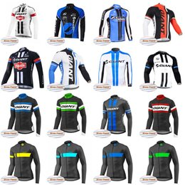 Wholesale giant cycling thermal clothing - Giant Pro Team Men's Cycling Thermal Fleece jersey Long Sleeve Bike shirt bicycle Clothing ropa Ciclismo Invierno D0416