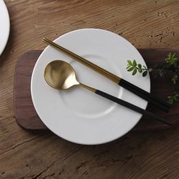 Wholesale korean chopstick spoon set - Korean Chopsticks Desserts Spoon Set 304 Stainless Steel Western Square Chopstick Long Handle Dessert Spoons Tableware Sets