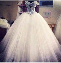 Mejores vestidos de novia simples online-Los vestidos de boda del último vestido de la princesa Ball Sweetheart 2018 ven a través de los vestidos de boda brillantes hechos a mano deslumbrantes magnífico hechos mejor