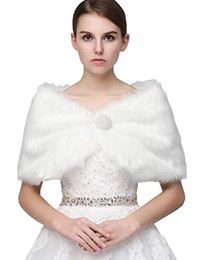 Wholesale faux fur coats capes - Clearbridal Women's Faux Fur Wrap Cape Stole Shawl Bolero Jacket Coat Shrug for Winter Wedding Dress
